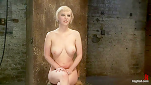 Hot blond suffers though a brutal Category 5 inverted suspension.How many orgasms can she take?