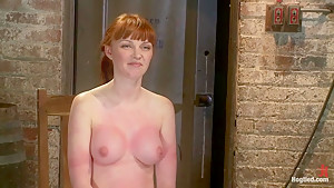 Sexy red head with HUGE lactating nipples severely bound in a reverse prayerMade to cum!