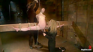 Girl next door, severely bound and helplessStripped, elbows bound, legs split, multi-orgasms!