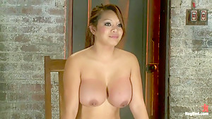 Cute Asian has her huge tits boundMade to cum while being throat fucked. Bowling balled to hell!