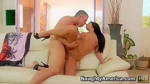Brunette Rebeca Linares enjoys her cousin's big dick