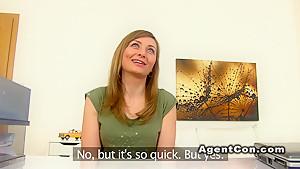 Brunette model fucks till cumshot pov in casting