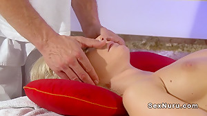 Flawless naked blonde getting massage and cock