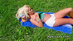 Blonde fucking pov in the public park