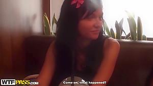 Horny teen Bella gives hard blowjob to barman in the bar's toilet