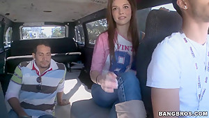 Slender babe Tiffany D.Gore gets in to bang bus