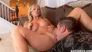 Whorish busty milf Amber Lynn pleasures young stud