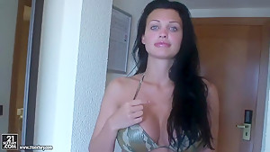 Aletta Ocean has fun on the beach