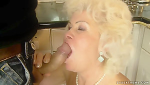 Whorish granny Effie gets banged in kitchen