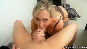 Stunnign Brandi Love gives head to Xander Corvus