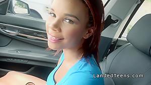 Natural busty ebony teen bangs in the car