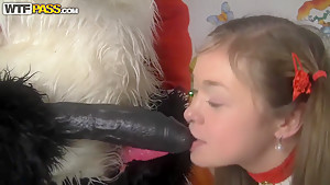 Pretty baby has anal sex with Santa Panda