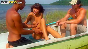 Nice summer sex party on a boat with teen amateur bitch