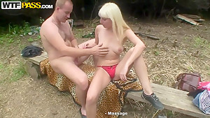 Blonde beauty double penetrated outdoors