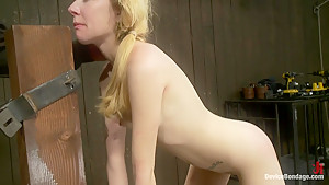 Little Emma is put in hard bondage and fucked by a big dick