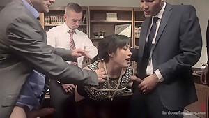 Jailhouse Cock Slut: Judge Mia Li Double Stuffed!