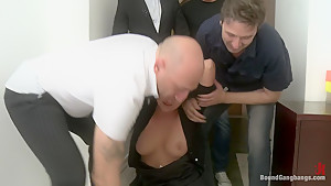 Secretary Take Down:Boss & Friends Tie her up & Fill her Pussy w/ Cum
