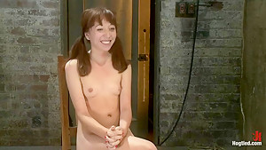 Sexy Emma Haize totally helpless as cock is jammed down her throat Left on the floor to suffer
