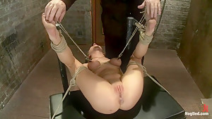 Bound on her back, nipples tied to her big toes. Finger fucked to orgasms, vibrated, caned & abused!