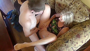 Son loves her horny mother with big saggy tits while nobody home