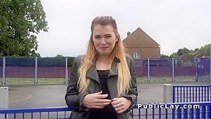 Blonde Brit fucks cock for cash outdoor