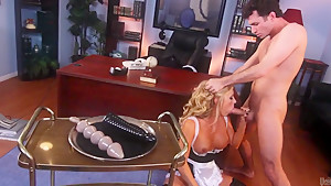 Slut in uniform Samantha Saint gets her pierced pussy boned