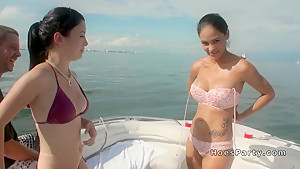 Foursome boat party fucking at sunny day