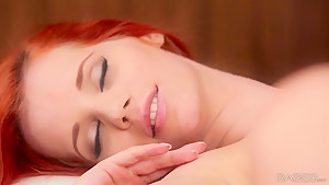 Ginger young chick Ariel got her panties pulled off by her brunette girlfriend Caprice and enjoying hot cunilingus.