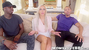 Beautiful big tits MILF Nina Elle hammered by monster dicks