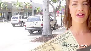 Perky tits teen flashing in public