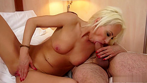 Irresistible blonde mature with lovely tits gets on top of a long dick