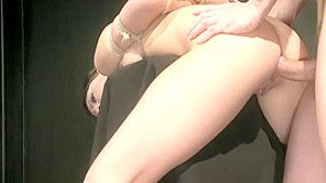 Brunette slave is strung up to be toyed, give head and get pounded