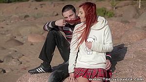 Teeny Lovers - Margo - Redhead teeny fucked in a park