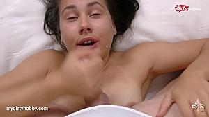 MyDirtyHobby - Curvy brunette deepthroating a huge cock