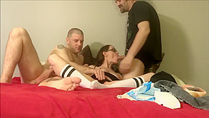 Horny sway having fun with Hubbie and Friend