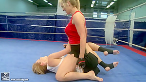 Tanya Tate with hot babe fighting in the ring