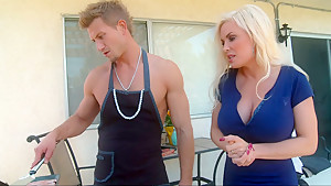 Busty mommy gets meat at BBQ