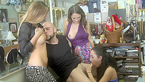Group sex in a shop