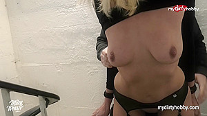 MyDirtyHobby - Amateur babe Miley gets tied up and fucked in a public place